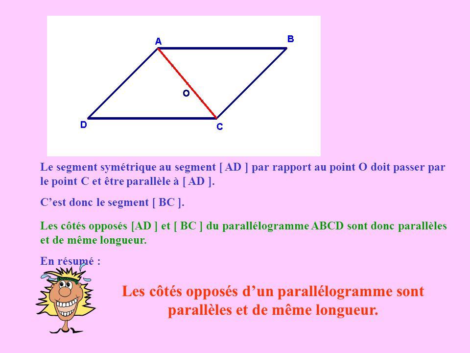Le segment symétrique au segment [ AD ] par rapport au point O doit passer par